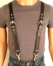 LEATHER SUSPENDERS BRACES Black COWHIDE LEATHER Biker Hand Crafted U.S. 5 sizes