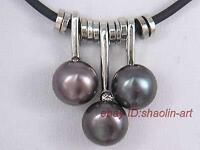 Noir,3pcs perles de culture, collier