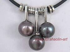 Noir,3pcs perles de culture, collier