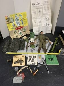 Vintage 1960s GI Joe Action Figure Doll Lot Military Accessories Clothes Guns