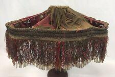 Large Antique Vintage Victorian Beaded Fringe Silk Lamp Shade - For Restoration
