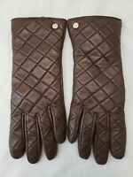 MICHAEL KORS Women's Gloves Brown Quilted Genuine Leather Gold MK Logo Size L