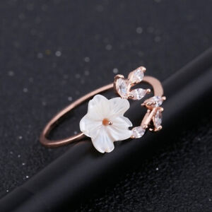 Fashion Flower Rings for Women 925 Silver Jewelry White Sapphire Adjustable