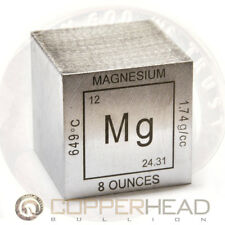 "1 x 8 oz ounce (235g grams) .999 Fine Magnesium Bullion 2"" Inch Element Cube"