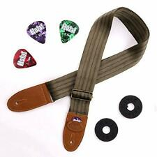 Guitar Strap for Acoustic w/Leather Ends, Pick Pocket, 3 Picks and 2 Strap Locks
