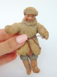 30's Vintage Antique Russian USSR Paper Mache Christmas Doll Hand Made Boy Toy