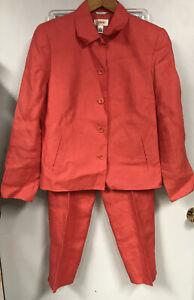 Talbots Womens 8 Irish Linen Suit Jacket Blazer Pants Pantsuit Coral Pink Q16