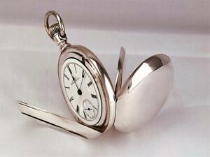 Antique 1884 WALTHAM Pocket Watch in HEAVY 4OZ FINE COIN SILVER CASE  18s - RUNS