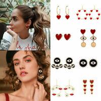 Big Evil Eyes Lip Charm Gold Loop Dangle Drop Earrings Statement Jewelry Fashion