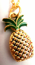 FAB QUIRKY GOLD PLATE & ENAMEL PINEAPPLE HAWAII FRUIT NECKLACE NEW