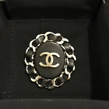 New Large NIB CHANEL CC Classic Logo Black Leather Quilted Chain Oval Brooch Pin