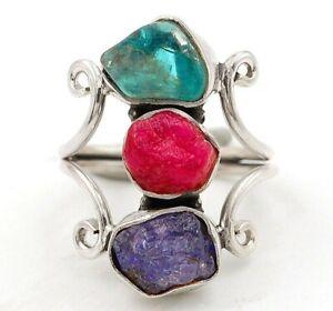 Natural Rough Pink Tourmaline Kyanite 925 Sterling Silver Ring Sz 6.5, ED7-3