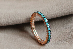 Genuine 925 Sterling silver Full eternity Ring,Turquoise dainty stackable ring.