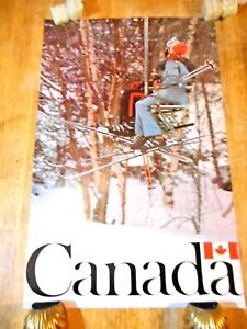 C 1970S SKI CANADA ORIGINAL TRAVEL POSTER SKIERS KISS ON SKI LIFT SNOW SKIING