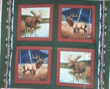 1 Yd. Wildlife Pillow Panel Quilt Fabric Deer Elk Hunting Big Game Rust Green