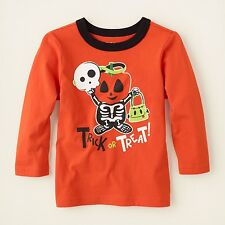 NEW NWT Boys or Girls Halloween Trick or Treat Shirt 18-24 Months Skeleton