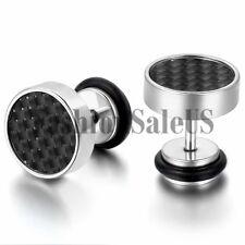 New 9mm Wide Men's Stainless Steel Carbon Fiber Ear Studs Cool Earrings One Pair