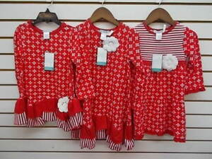 Toddler & Girls Tara Collection Assorted Red & White Dresses Size 2 - 10