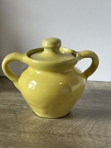 Genuine Bybee KY Pottery Jar with Lid Yellow BB Vintage