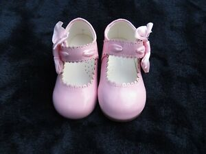 NEW Baby & Girls Spanish Romany Pink Patent Threaded Ribbon & Bow Shoes