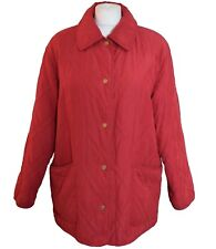 Women UK 16 L Quilted Jacket Classic Equestrian Casual Outdoor Red