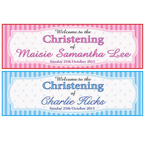 2 PERSONALISED CHRISTENING BANNERS BOY OR GIRL 2 FOR 1 - BAPTISM