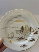 VINTAGE MEIJY CHINA SALAD PLATES SET OF 4 Made In Japan WHITE GOLD MOUNTAINS