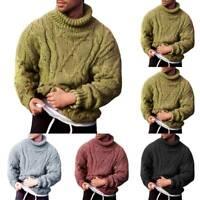 Herren Grobstrick Rollkragen Sweatshirt Pullover Pulli Winter Warme Strick Tops