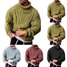 Mens Winter Chunky Cable Knitted Jumper Roll Turtle Neck Pullover Tops Sweater