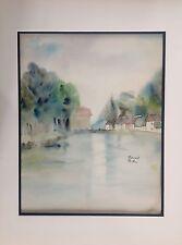 Jeanne BESNARD-FORTIN 1892-1978.Village en bord de  rivière.Aquarelle.SBD.32x26.