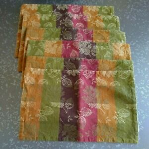 6 Vintage Placemats Fall Leaves Sonoma Traditional Table Setting Green Gold Red