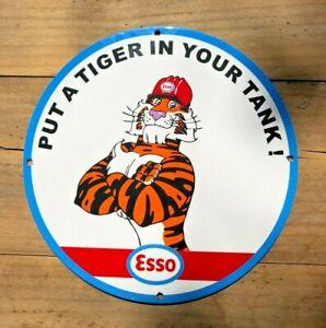 VINTAGE ESSO TIGER PUT A TIGER IN YOUR TANK! PORCELAIN PLATE  SIGN GAS OIL PUMP