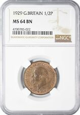 1929 MS64 BN Great Britain 1/2 Half Penny NGC UNC KM# 837  227 POINTS!