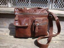 FOSSIL Brown Leather Crossbody Handbag Small Boho Hobo Hippie Purse Biker Sutton