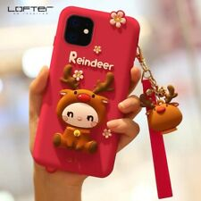 LOFTER Cute Deer Cartoon Silicon Full Coverage Case for iPhone 11 Pro Max, Red
