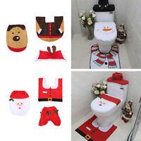 Set Of 3 Christmas Festive Santa Elf Snowman Reindeer Toilet Seat Cover Bathroom
