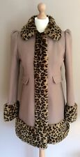 WAREHOUSE BEIGE LEOPARD PRINT FAUX FUR COAT SIZE 10