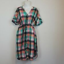 Isabel Maternity plaid shirt dress size XL Button up Short sleeve Summer
