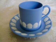 LOVELY WEDGWOOD WHITE ON BLUE JASPERWARE DEMITASSE CUP WITH SEASHELL DESIGN