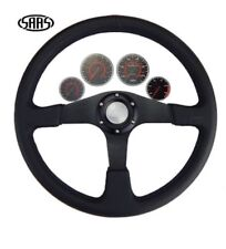 4WD Black SAAS Leather Steering Wheel 15 Inch 380mm ADR Approved
