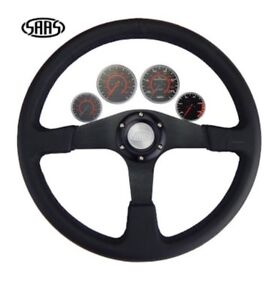 """Black SAAS Leather Steering Wheel 15"""" 380mm Black  Anodised Spoke ADR Approved"""