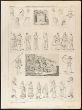 1860 Gravure histoire : Chinois, Indiens, Assyriens, Mèdes, Perses. Costumes