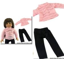 Pink Ruffle Top + Black Leggings 18 in Doll Clothes Fits American Girl