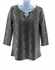 By Design Womens Black and Silver Lizard Print Top 3/4 Sleeve Size Small