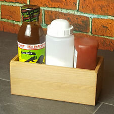 Small Wooden Condiment Caddy - Crate Sauce Bottle Holder Table Buffet Box Riser