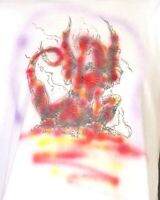 vtg 80s single stitch Airbrush Dragon T-Shirt thin gaming D&D MTG Gencon M/L