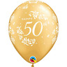 "Pearl Gold 11"" Happy 50th Anniversary 50 Years Latex Balloons Decorations 6pk"