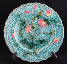 Antique 1880 VILLEROY & BOCH SCHRAMBERG MAJOLICA PLATE turquoise pink flowers