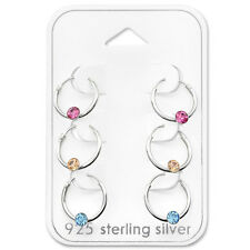 925 Sterling Silver Card 3 Sleepers 12mm Hoops Earrings Children Kids CZ Crystal