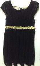 Girls L 10-12  Party Dress  Black Sequin Bow Velour Dress NEW
